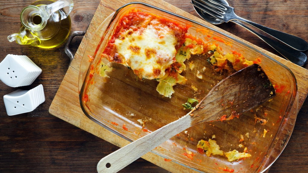 Casserole pan with leftover lasagna