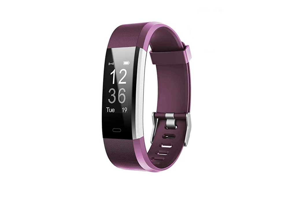 purple fitness tracker with large face display