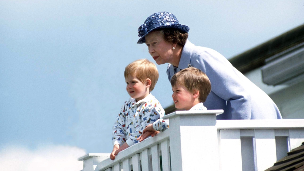 Queen Elizabeth with young Prince William and Harry