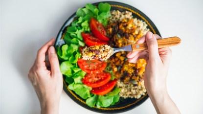 Plate of vegan food