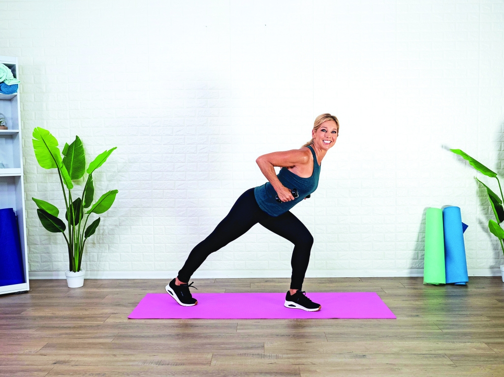 Denise Austin doing front lunge and row
