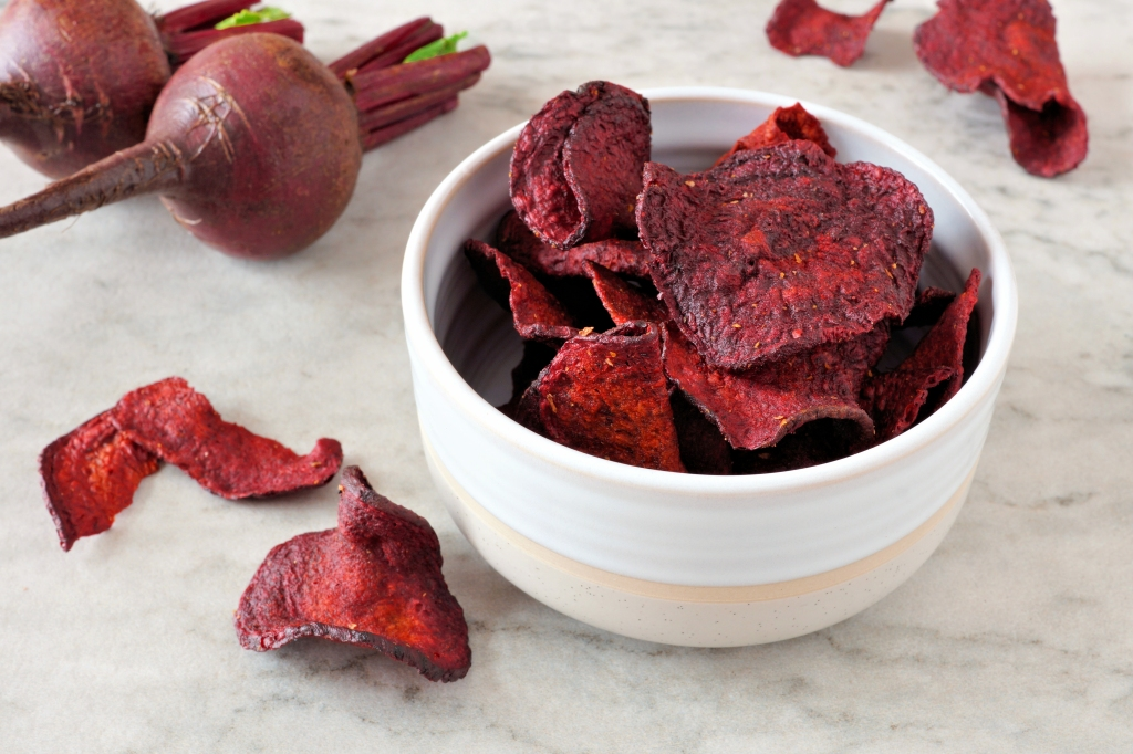 Bowl of healthy beet chips
