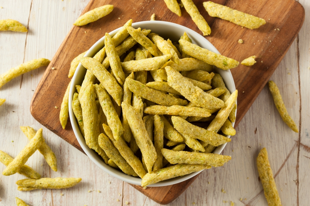 Bowl of snap pea crisps