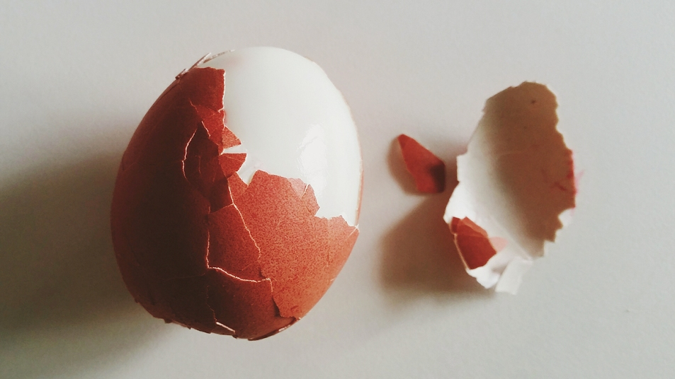 Partially peeled hard boiled egg