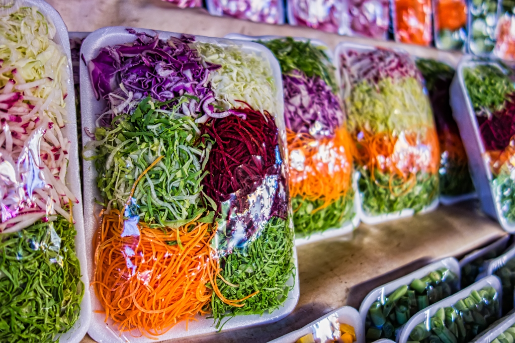 Packaged vegetables at grocery store