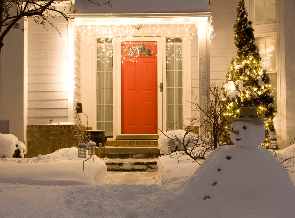 House porch at winter night