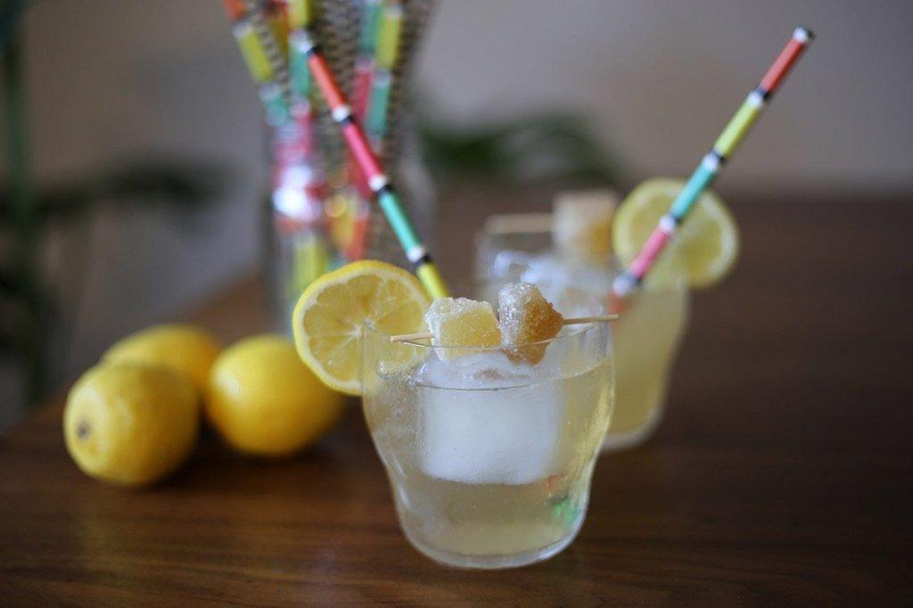 kombucha cocktail with lemon