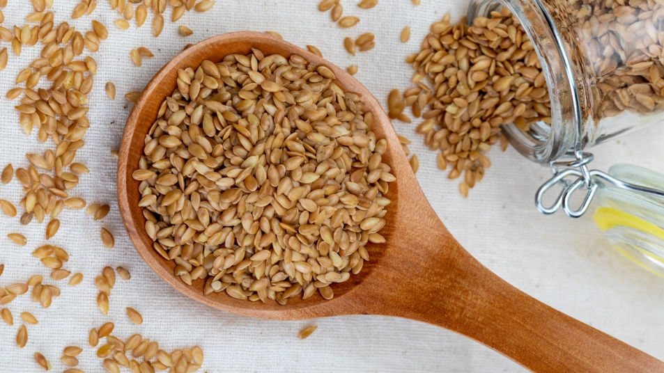 Wooden spoon of flaxseeds