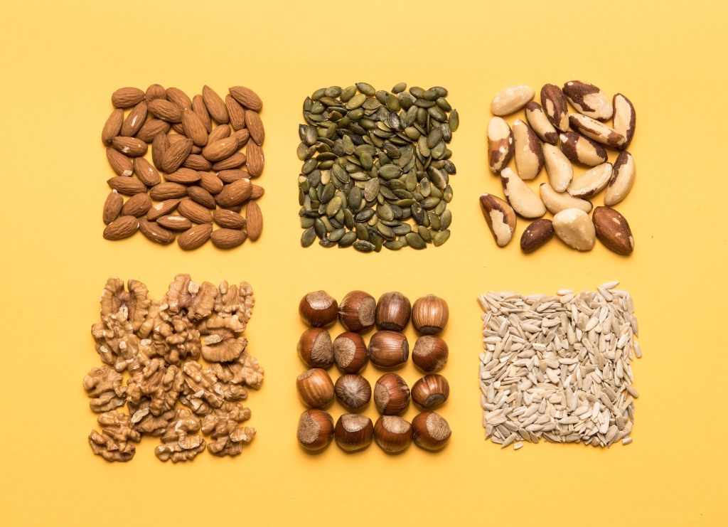 Nuts and seeds arranged in squares