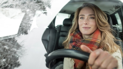 Woman driving in the winter