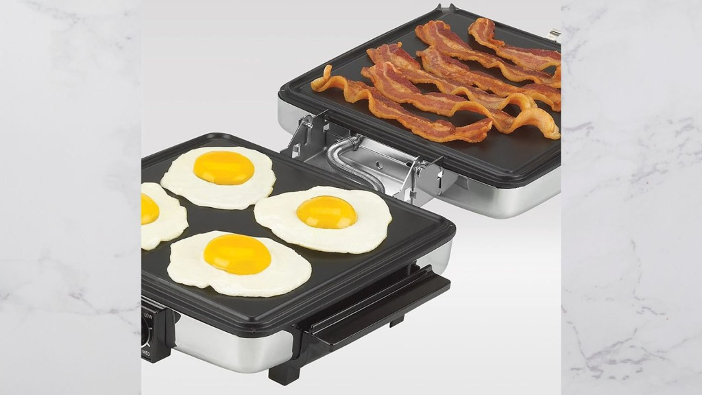 waffle maker cooking eggs and bacon