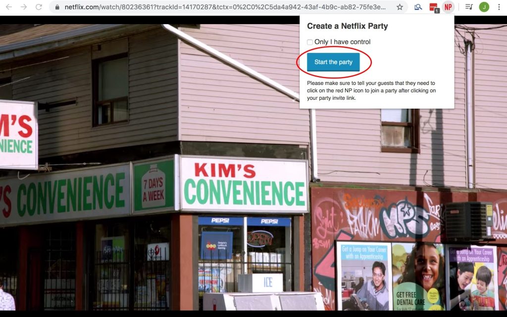 Screenshot of Netflix Party extension prompt