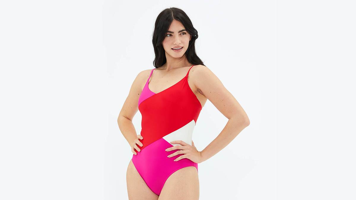 colorblocked one-piece summersalt swimsuit