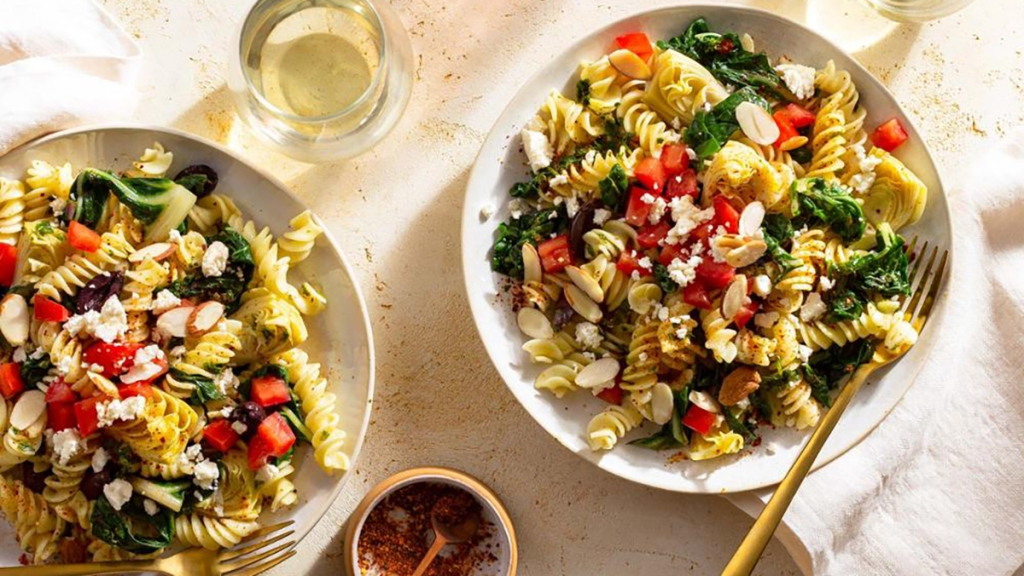 sun basket pasta with chard, artichokes and feta