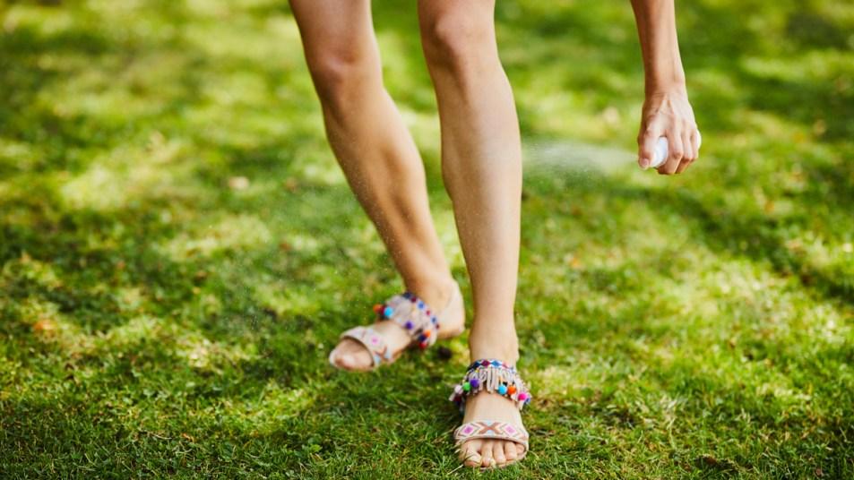 Woman's legs with hand applying bug spray