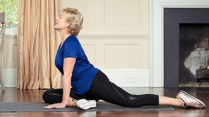 Woman stretching lower back