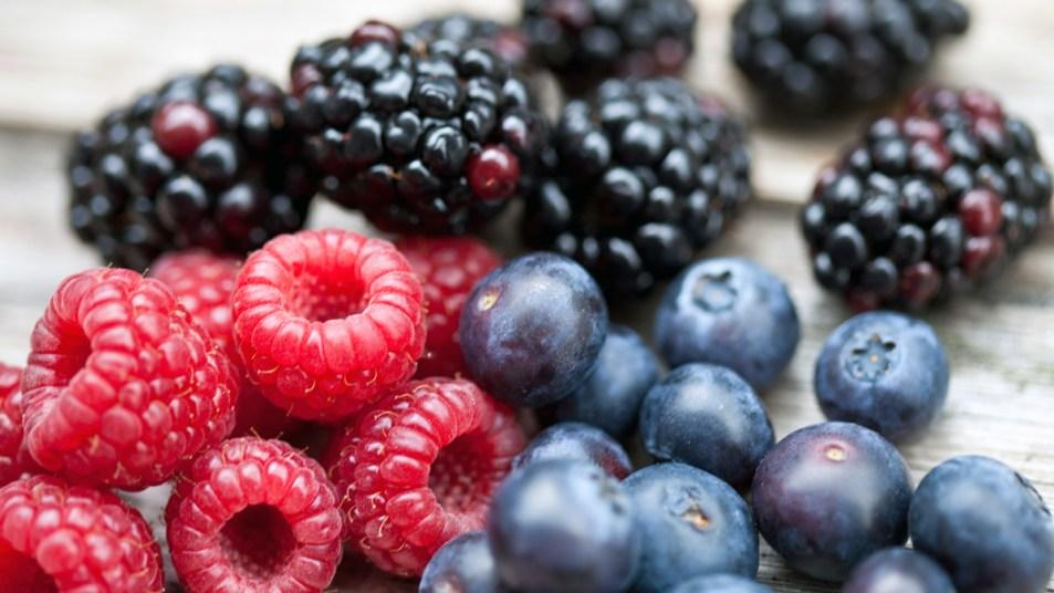 Blackberries, raspberries, and blueberries