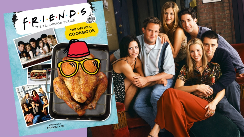 Cover of the official 'Friends Cookbook' next to cast photo