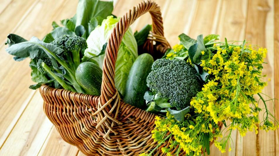 Basket of green vegetables