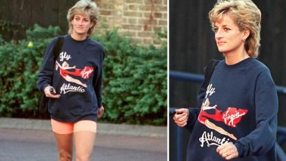 Princess Diana leaving gym in sweatshirt and bike shorts