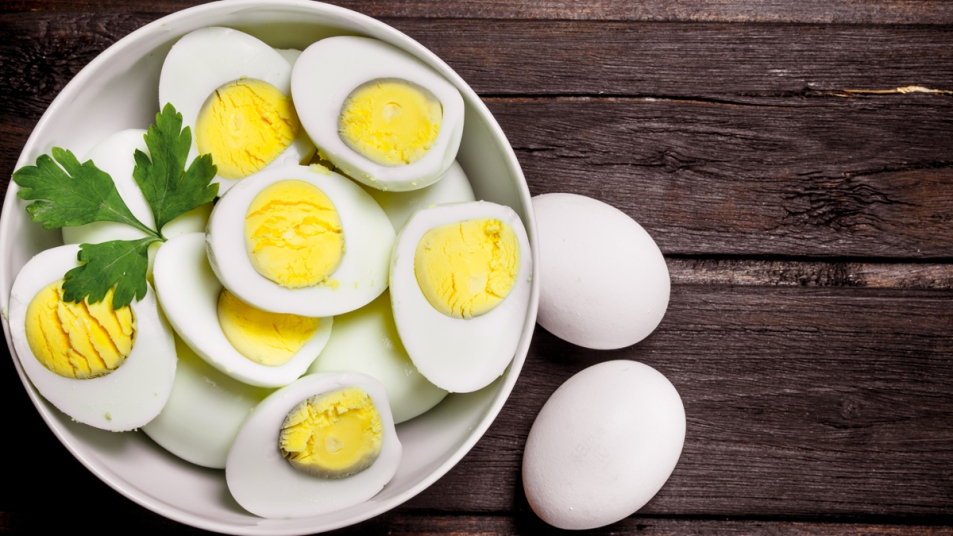 Plate of hard boiled egg with grey ring around yolk