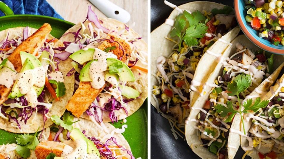 Salmon and chicken taco photos