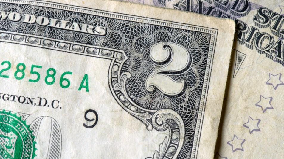 Corner of 2 dollar bill
