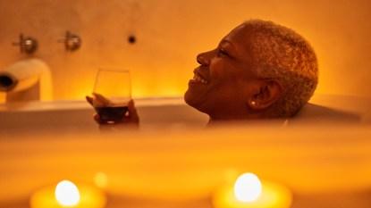 Woman enjoying her bath