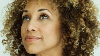 Woman looks up (great eyesight)