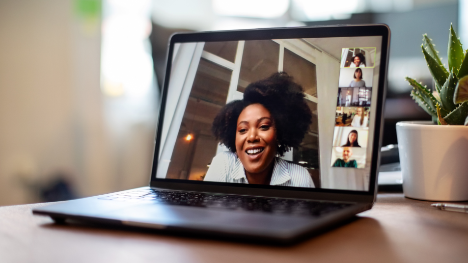 woman on laptop video chat
