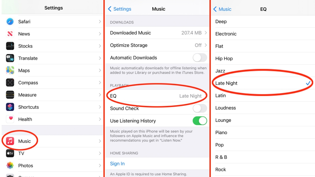 Photos of iPhone music settings