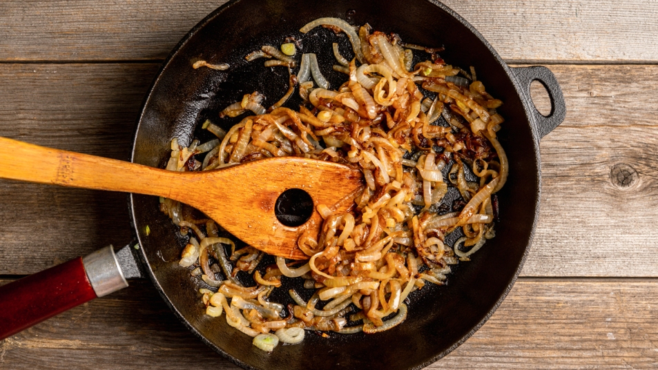 Skillet of caramelized onions