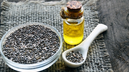 Chia seeds with a bottle of oil