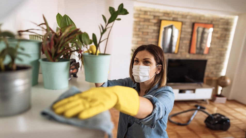 Woman Cleaning a Home