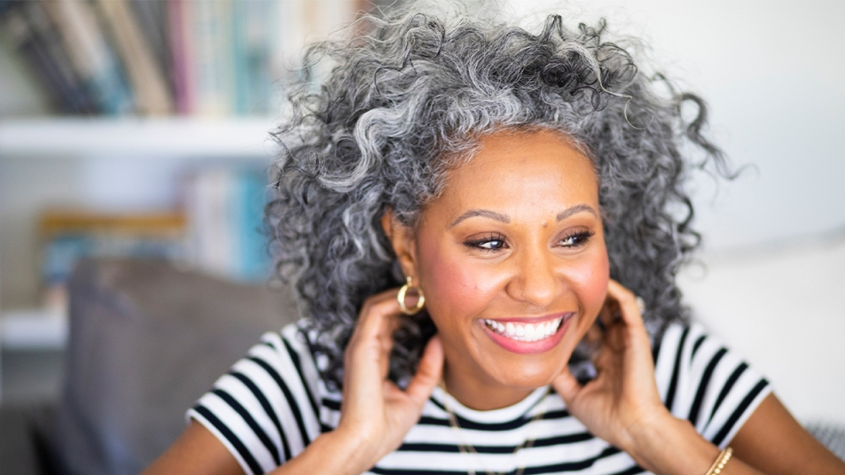 Woman embracing her hair