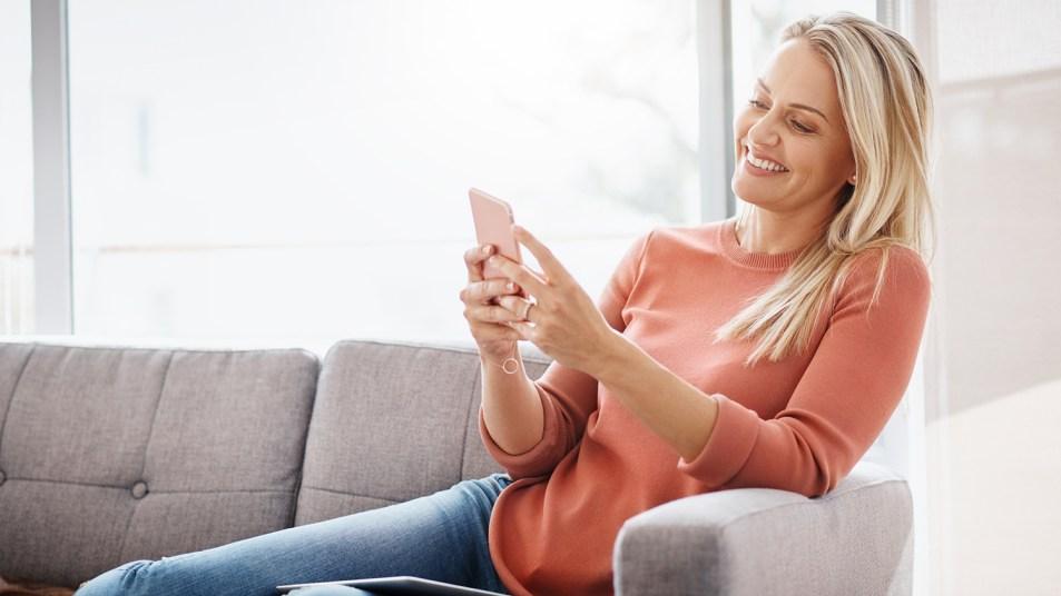 woman using a smartphone app